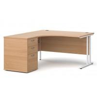 Maestro 25 Crescent Office Desk and Pedestal Bundle