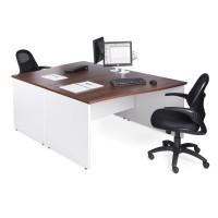 Duo Walnut and White Rectangular Desk