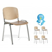 Taurus Stacking Chrome Wooden Chair (Set of 4)