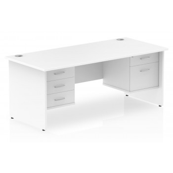 Impulse Panel End Office Desks with Double Drawers