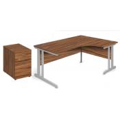 Aspire Ergonomic Office Desk and Pedestal Bundle