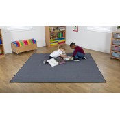 Plain Grey 2m Square Classroom Carpet