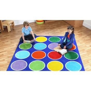 Rainbow Circle Placement Classroom Carpet