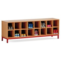 16 Compartment School Cloakroom Bench