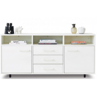 White Triple Side Board Display Unit