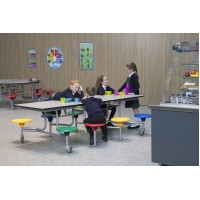 8 Seat Rectangular Canteen Folding Table Unit