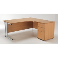 Start Crescent Desk and Pedestal Bundle