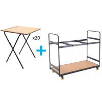 20 Folding Exam Desk and Trolley Package
