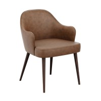 Derby Brown Faux Leather Tub Chair