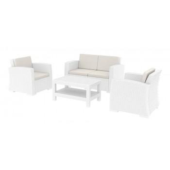 Monaco Cream 4 Piece Outdoor Sofa Set